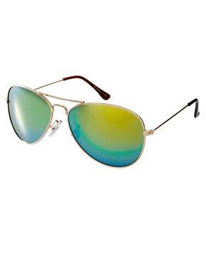 Imagen 1 de Gafas de sol estilo aviador con lentes azules de espejo de ASOS