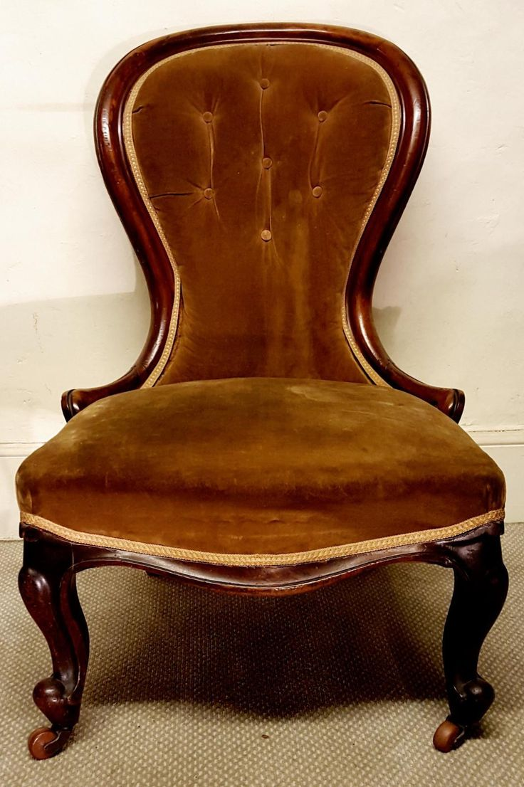 """""""If you can't find what you're looking for, upload a 'request and we'll do the rest"""".  To view, purchase or sign up, click or copy into your web browser: www.lookingforantiques.co.uk  A lovely Early Victorian Mahogany Spoon Back Chair. Has been newly upholstered and recovered, with Cabriole legs on Porcelain castors. Circa 1840. Very comfortable!  £260 Inc Vat."""