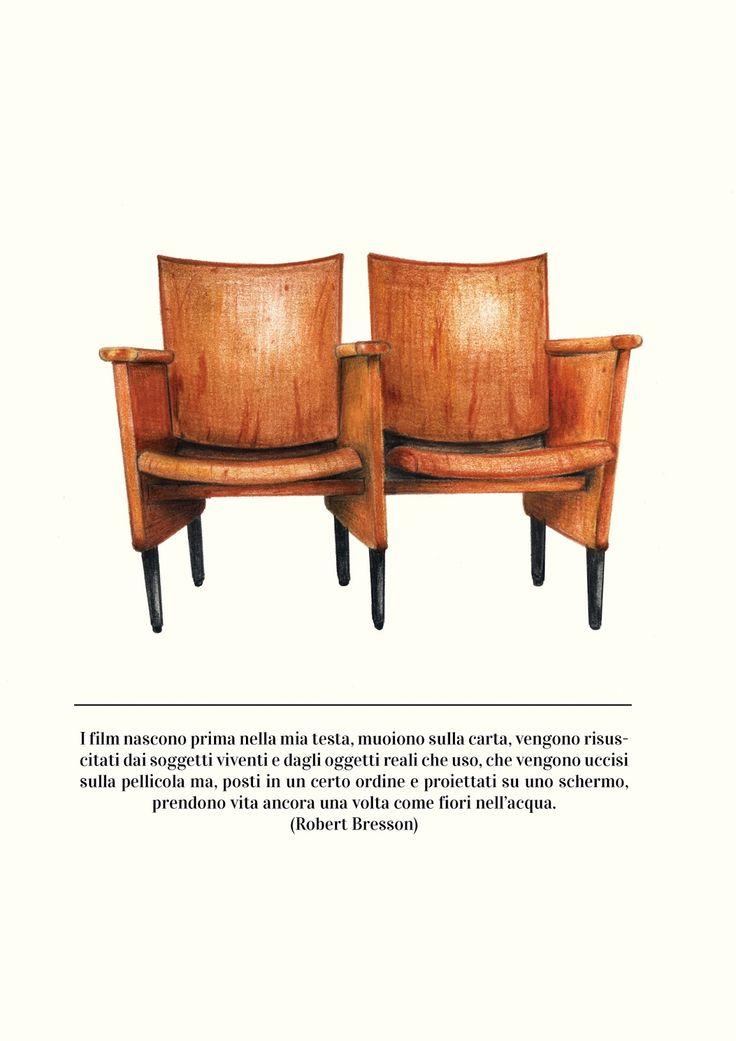 #chairs #cinemas #allestudio #postcard #woodchair #vintage