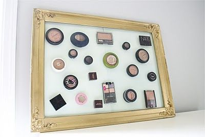 magnetic make up holder, not sure if I'll make one but LOVE the vanity closet pictured in this blog.