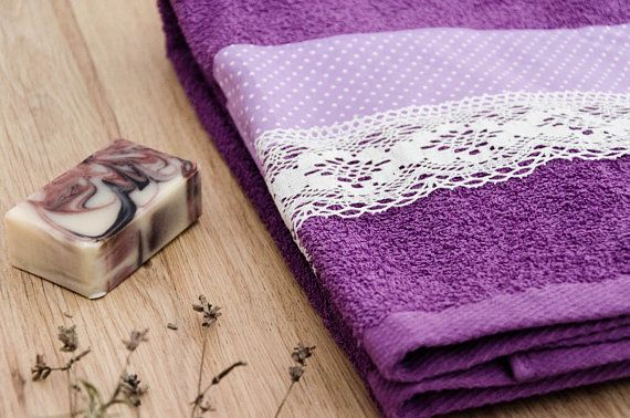Decorative Bath Towel Lavender Towel Handmade Decorated Purple Towels Decorative Bath Towels Towel