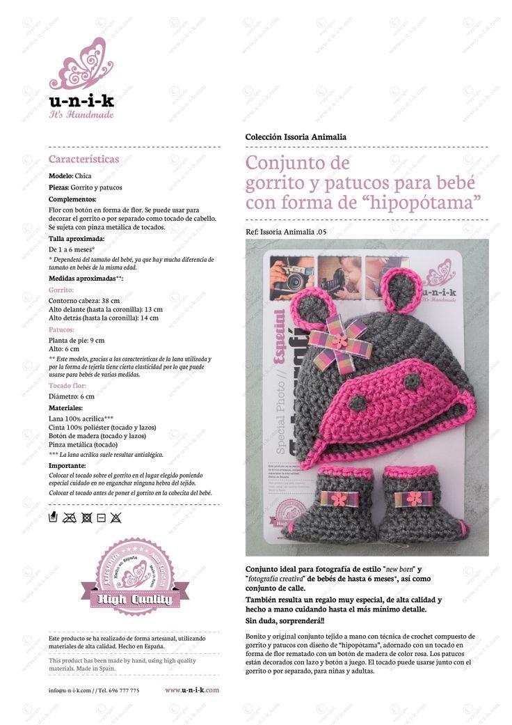 """Conjunto de gorrito y patucos para bebé con forma de """"hipopótama"""". Ref: Issoria Animalia .05"""