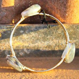 Stone circle bangle/cuff
