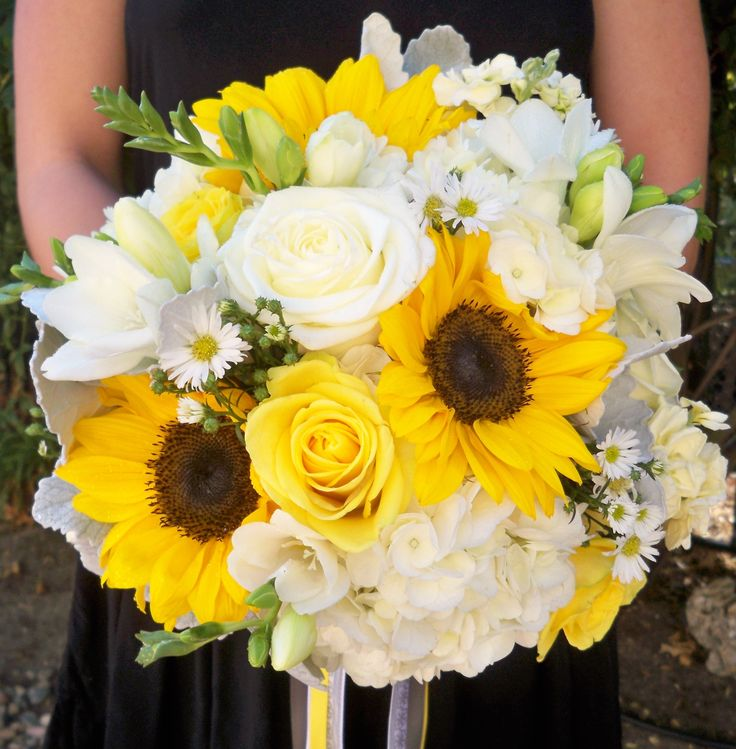 Yellow, gray and white wedding. Sunflowers, hydrangea, roses, freesia, stock. Designed by Nina with By Request. www.byrequest.us