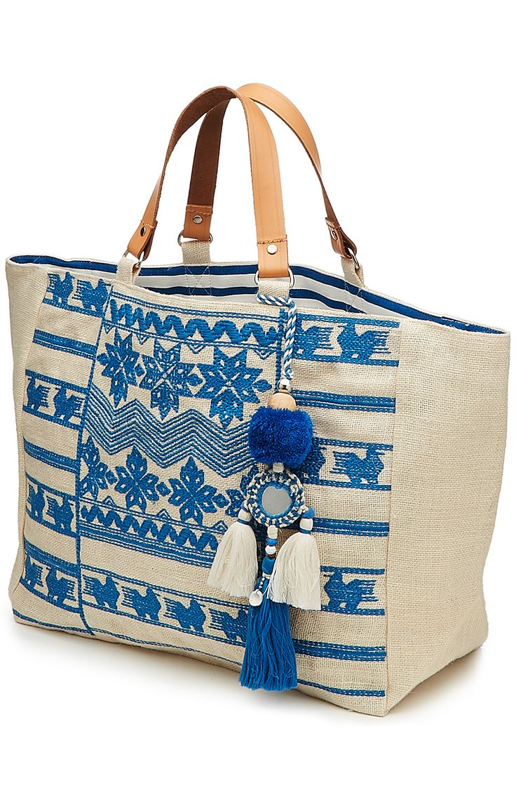 Leila Embroidered Jute Tote with Embellished Keychain detail 2