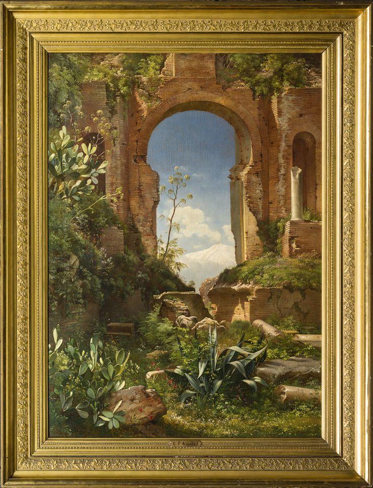 Carl Frederik Aagaard (Odense 1833- Copenhague 1895), Vue sur le Mont Etna à travers les ruinesdu Temple Grec de Taormina. Signée et datée 1871. Huile sur toile, 100 x 72 cm ©-F.-Baulme-Fine-Arts