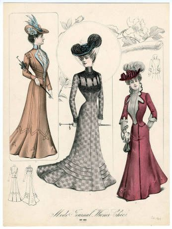 """Women 1896-1905 Oversized, Plate 021. Fashion plates, 1790-1929. The Costume Institute Fashion Plates. The Metropolitan Museum of Art, New York. Gift of Woodman Thompson (b17509853)   The caption reads """"Mode Journal Wiener Chic."""" #fashion"""