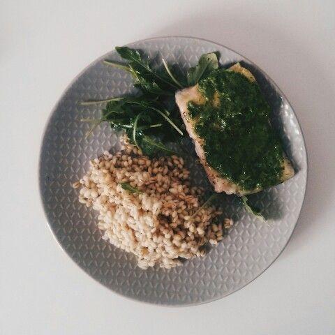Salmon, rucola pesto & branley pearl #yummy