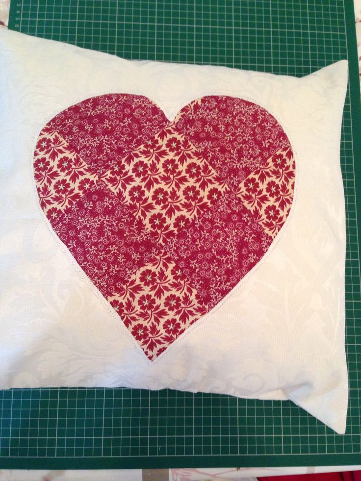 Patchwork heart cushion