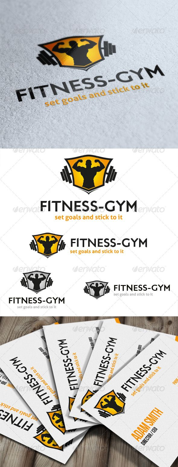 Fitness Gym Logo  #GraphicRiver         Fitness Gym is a big muscle man siluette on a crest with a bar