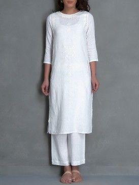 White Embroidered & Mukaish Embellished Linen Kurta