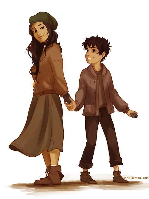 Teenage Bianca de angelo and  Little  Nico de Angelo