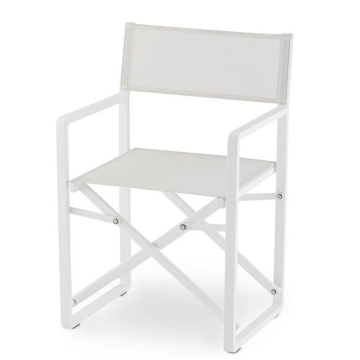 Regista GS 945. Sedia regista da esterno con struttura in alluminio verniciato bianco, seduta e schienale in textilene grigio chiaro;  è adatta per uso esterno, giardino e terrazzo.