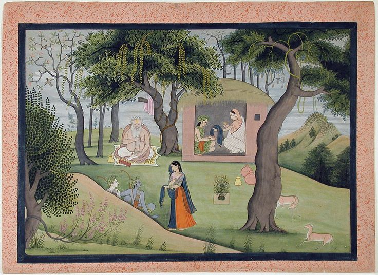 Within the hut, Sita meets with the sage's wife, Anasuya, herself an illustrious ascetic. Anasuya approves of Sita's accompanying Rama into the forest and blesses her with the gifts of heavenly raiment that will never wear out, fine jewelry, a garland, and an unguent that would guard against the rigors of the forest climate.