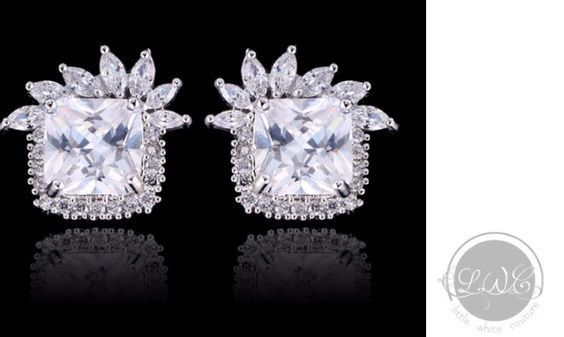 Bridal Earrings   Square Crown Crystal Stud Earrings by LITTLE WHITE COUTURE