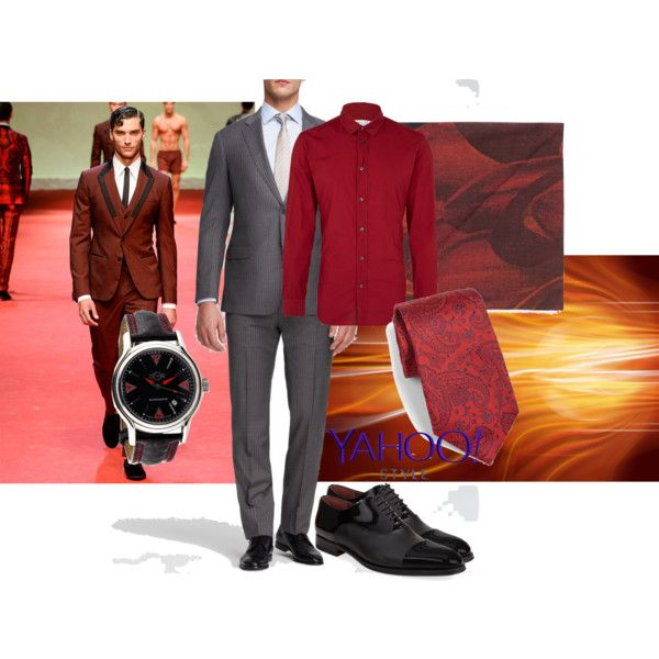 Roguish red by maria-kuroshchepova on Polyvore featuring Gevril, ETON, Armani Collezioni, Maison Margiela, title of work, Magnanni, Dolce&Gabbana, contestentry and yahoostyle