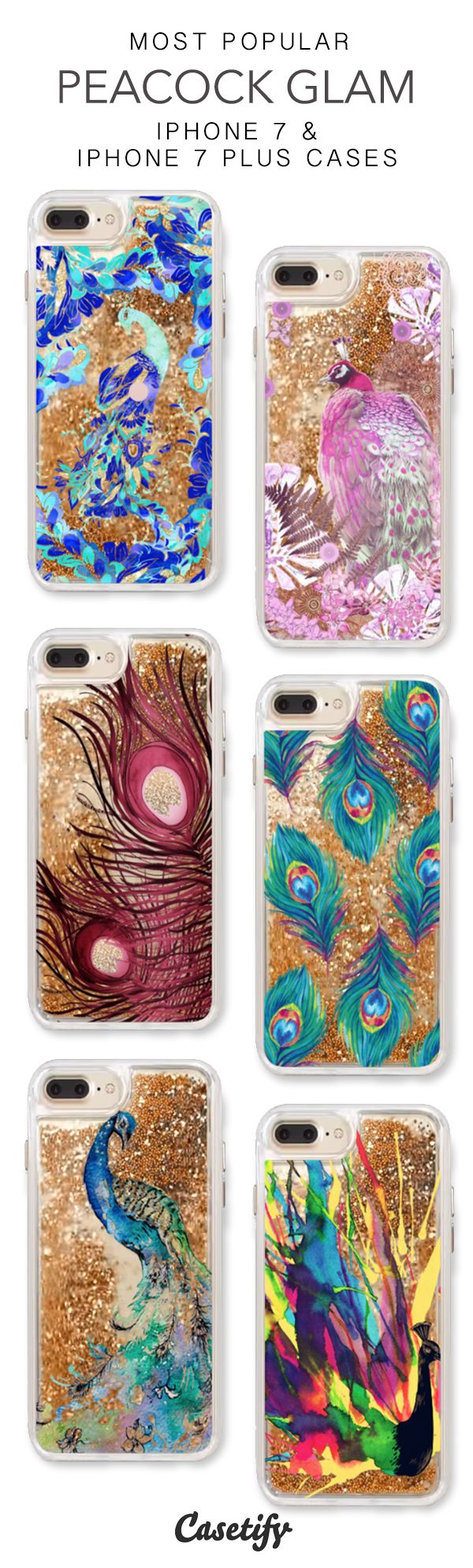 Most Popular Peacock Glam iPhone 7 Cases & iPhone 7 Plus Cases. More protective liquid glitter feather iPhone case here > https://www.casetify.com/en_US/collections/iphone-7-glitter-cases#/?vc=YBgdO4Foep