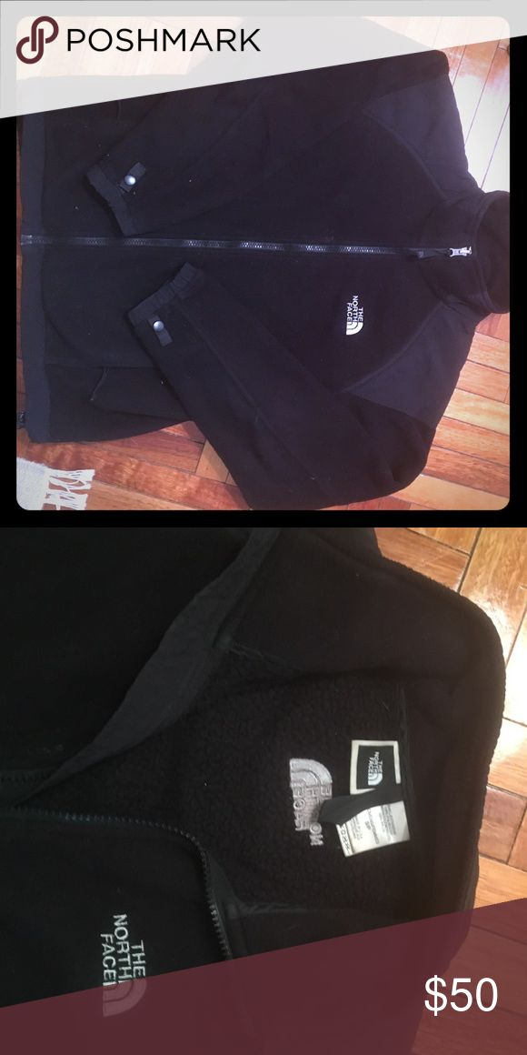 Womens North Face fleece jacket Great lightweight or layering jacket - classic North Face black with white logo, very good condition! The North Face Jackets & Coats
