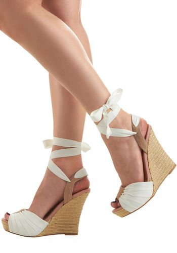 white ribbon ankle tie wedges... favorite