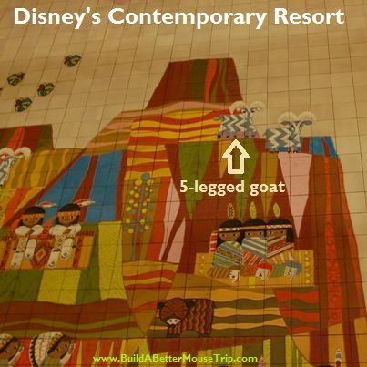 Have you ever noticed that one of the goats on the giant mural in the Grand Canyon Concourse at Disney's Contemporary Resort has 5 legs?  For more Contemporary Resort photos, see: http://www.buildabettermousetrip.com/disneys-contemporary-resort-hotel #Disneyworld #WDW