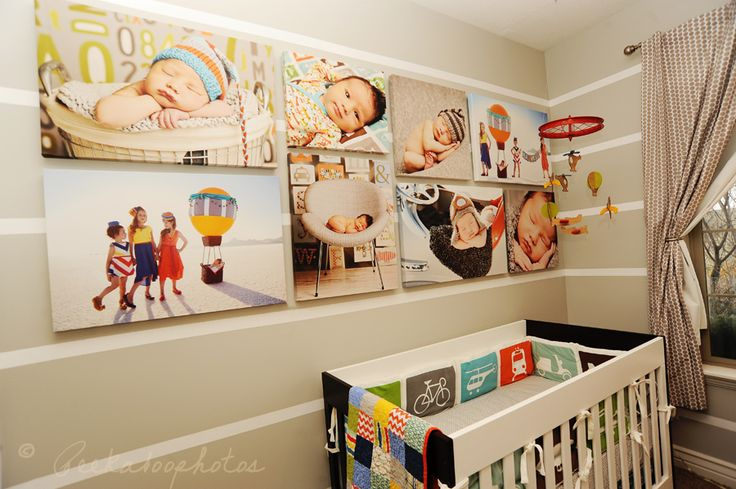 Canvas gallery wraps wall portrait grouping for nursery - Photo decoration on wall ...