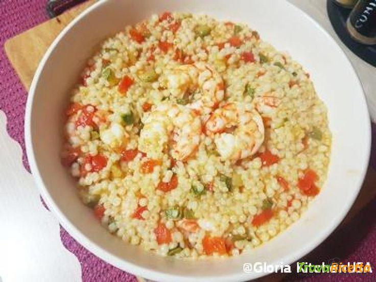Fregola Sarda con Mazzancolle e Verdure con Piccante  #ricette #food #recipes