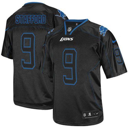Game Mens Nike Detroit Lions #9 Matthew Stafford Lights Out Black NFL Jersey