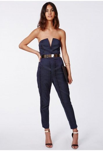 We're loving animal prints this season, especially this stunning croc infused plunge navy jumpsuit. The all over croc detail gives a fierce effect and worn with a gold plated belt this piece is the ultimate party jumpsuit. Finish the look w...