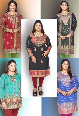 We are one of the leading manufacturer, Wholesaler & exporter of plus size Kurtis in India. We offer Kurtis & Tunics in size - XL, XXL, XXXL & up-to 9XL.