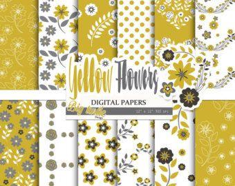 Primavera de papel digital: amarillo y verde azulado por Grepic