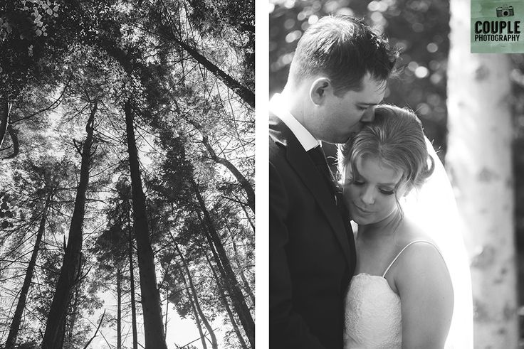 The bride & groom and the tall forest trees. Weddings at Druids Glen Hotel by Couple Photography.