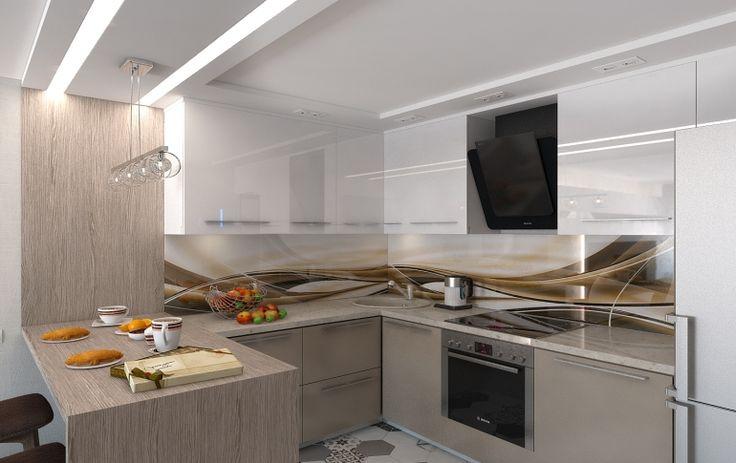 Интерьер небольшой кухни, объединенной с гостиной комнатой.