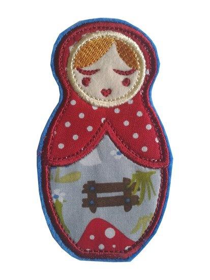 Anoushka Babushka strijkapplicatie in rood- wit stip