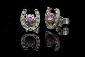 Stone Set Horseshoe Earrings