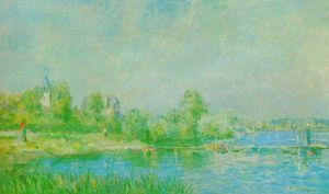 Les bords de la Seine à Muids - (Albert Charles Lebourg)