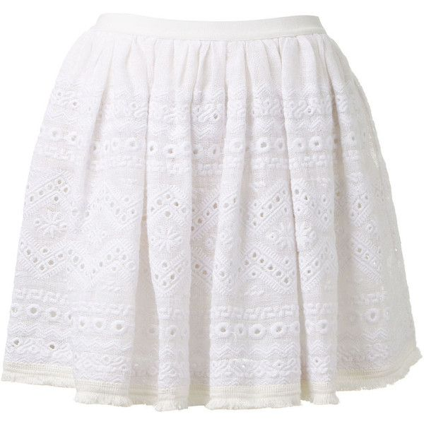 Sea NY white embroidered knit linen skirt found on Polyvore