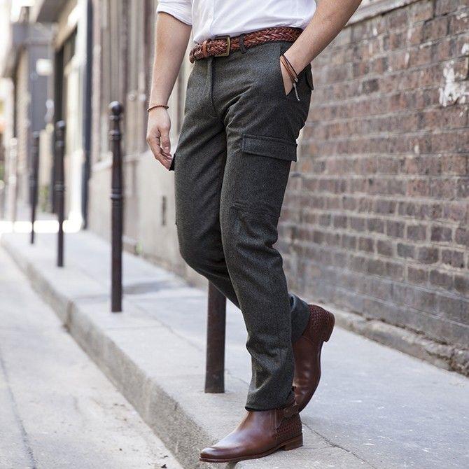 pantalon cargo en flanelle de laine