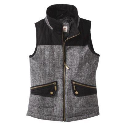 Mossimo Supply Co. Junior's Vest w/ Fur Collar -Black/White $35