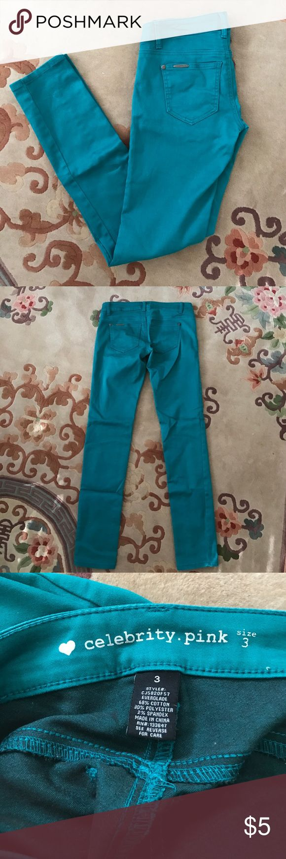 "Celebrity Pink Teal Jeans These are a size junior's 3 pair of teal jeans by Celebrity Pink! They're in great shape and all pockets on the front and back are functional! Inseam measures 31"". Celebrity Pink Jeans Straight Leg"