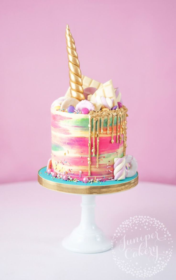 Rainbow buttercream unicorn cake by Juniper Cakery