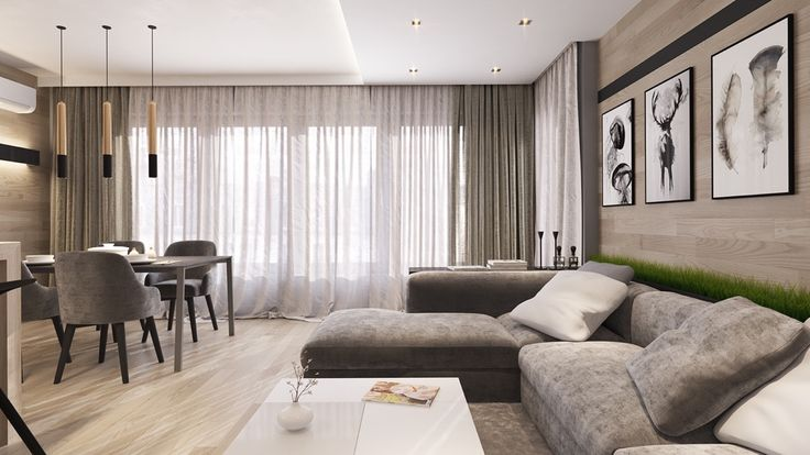 This light and airy neutral interior is a nice place to begin. Horizontal wall planks reinforce the linear decor theme used throughout the open living area, and help lengthen the room to make it feel more spacious.