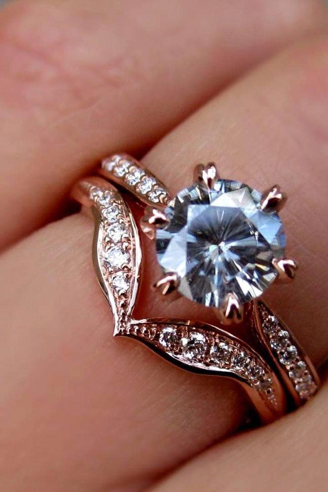 Moissanite Engagement Ring Set 14k Rose Gold Diamond Wedding Band
