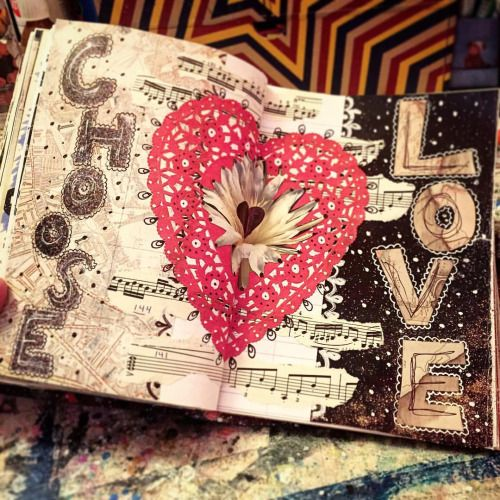 Pretty simple message tonight. Imagine if everyone chose love. Like… Every person on the planet. Just imagine. #love #chooselove #art #artist #artjournal #artjournaling #sketchbook #mixedmedia #collage #jenndalyn
