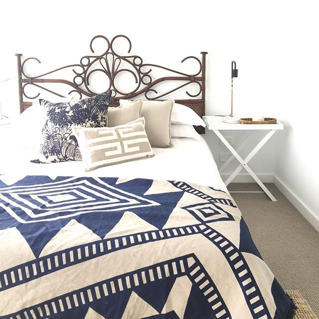 Our gorgeous Cape Town bed head has now sold out. I particularly love it styled here with navy, linen and crisp white for @jordan_andonovski_mcgrath of @mcgrathestateagents for the amazing home in Finders, Shell Harbour. The vendors were so pleased with our results. #realestatestyling #shellharbour #illawarra #wollongong #mcgrathestateagents #nestemporiumstyling #nestemporium
