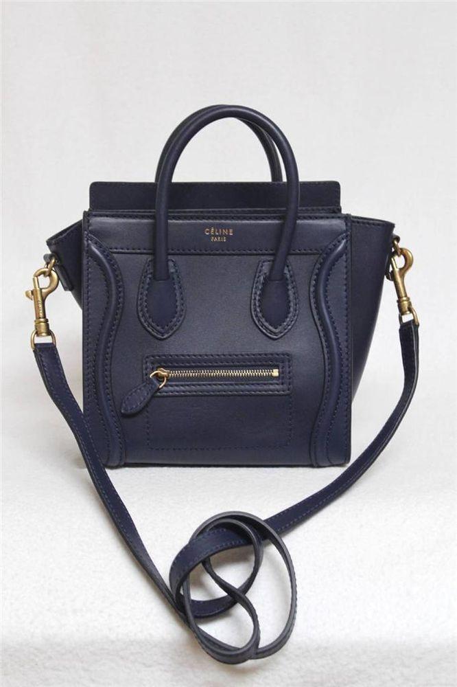 New Celine Smooth Ink Leather Nano Luggage Messenger Bag #Celine ...