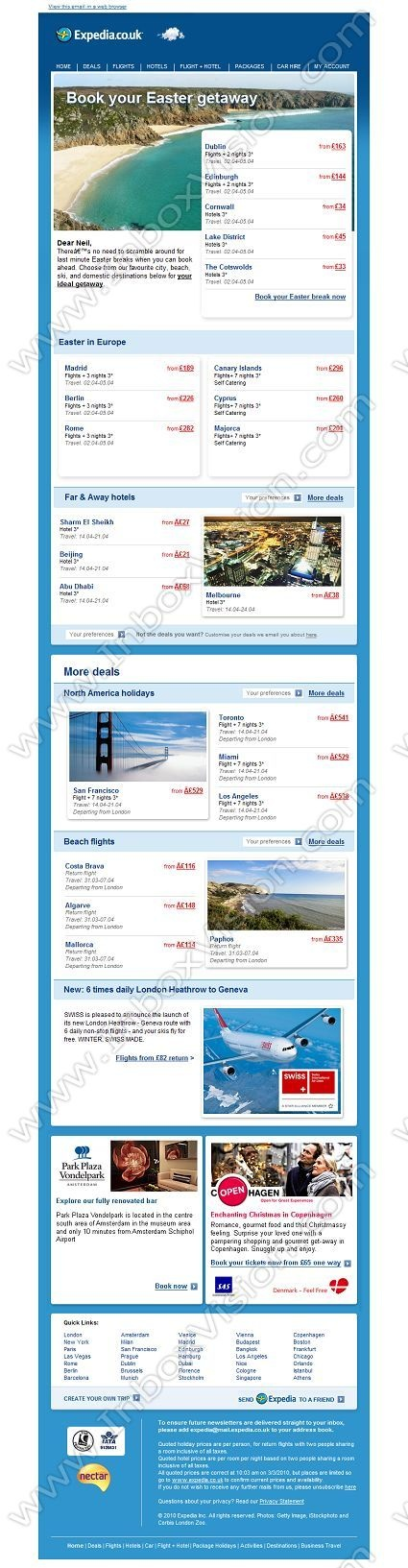 Company:    Expedia.co.uk    Subject:    Easter breaks galore              INBOXVISION is a global database and email gallery of 1.5 million B2C and B2B promotional emails and newsletter templates, providing email design ideas and email marketing intelligence http://www.inboxvision.com/blog