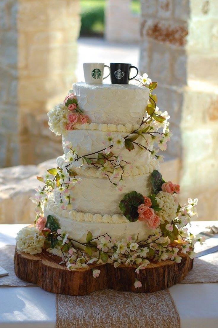 Starbucks wedding toppers Country wedding cake Homemade wedding cake