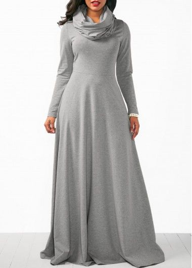 Grey Cowl Neck Long Sleeve Maxi Dress   Rosewe.com - USD $37.06
