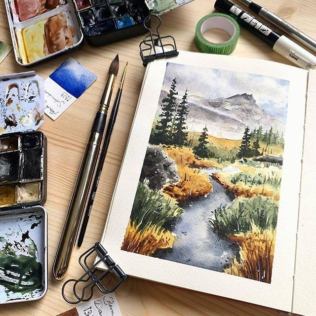 🎨 Watercolor blog sur Instagram : 🎨 Watercolorist: @jowishka.art ⠀  #waterblog #акварель #aquarelle #painting #drawing …   Watercolor blog,  Gouache art, Nature art