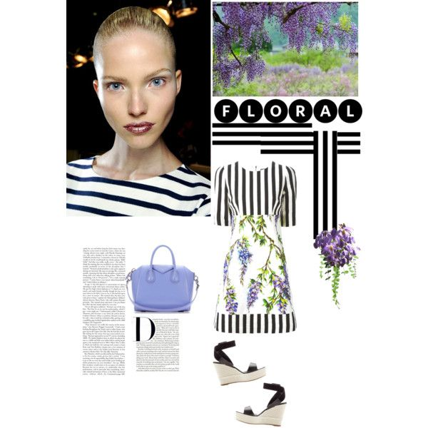 floral and stripes by violavintage on Polyvore featuring polyvore fashion style Dolce&Gabbana Sergio Rossi Givenchy